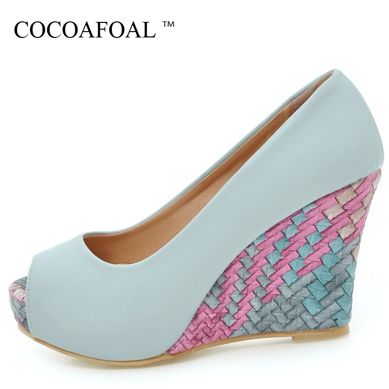 COCOAFOAL Woman Wedges Peep Toe Pumps Plus Size 34 - 43 Fashion Sexy Ultra High Heels Shoes Stiletto Blue White Pink Pumps 2018 spring summer new fashion sexy women pumps peep toe wedges platforms high heels sandals shoes woman buckle 35 42 loslandifen