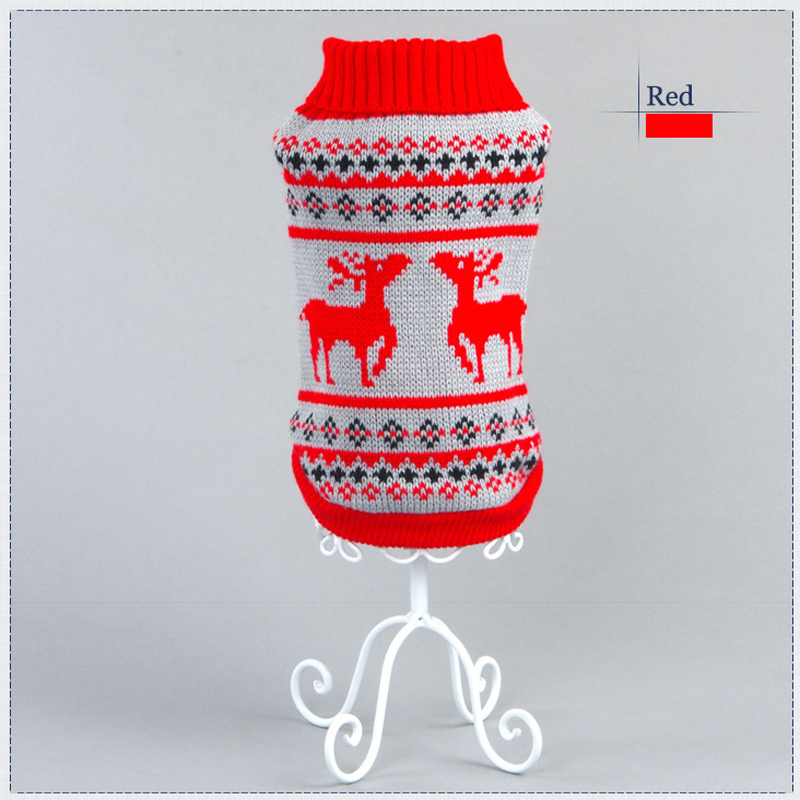 Christmas elk Pet Dog Sweater Clothing Design Small Puppy Autumn Winter Dog Clothes for Dogs Wholesale&Dropping 2 Color 5 Size