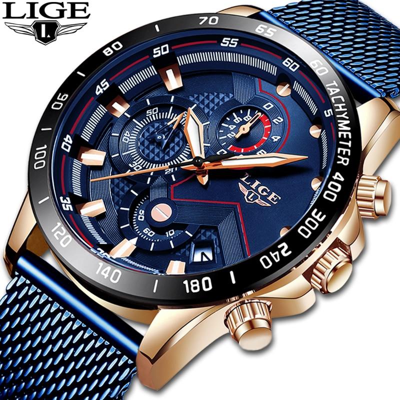 LIGE Watches Mens Top Luxury Brand Military Sport Waterproof Luminous Men Watch Mesh Belt Quartz Clock Relogio Masculino