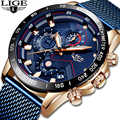 LIGE Watches Mens Top Luxury Brand Military Sport Waterproof Luminous Men Watch Mesh Belt Quartz Clock Relogio Masculino