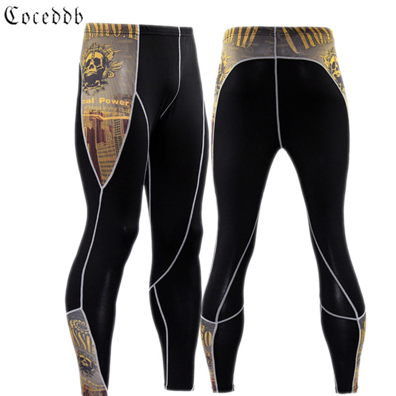 2017 New Fashion Mens Compression Pants 3D Print Quick Dry Skinny Leggings Tights Fitness Pants Stitching Tousers Free shipping