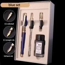 יוקרה כחול שחור 0.5mm Rollerball עט נובע דיו סט 0.8mm כפוף ציפורן אמנות קליגרפיה עטי מתכת מתנה עסקית מכתבים