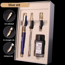 Luxury Blue Black 0.5mm Rollerball Fountain Pen Ink Set 0.8mm Bent Nib Art Calligraphy Pens Metal Business Gift Stationery