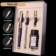 Luxus Blau Schwarz 0,5mm Rollerball Brunnen Stift Tinte Set 0,8mm Gebogen Nib Kunst Kalligraphie Stifte Metall Business Geschenk schreibwaren