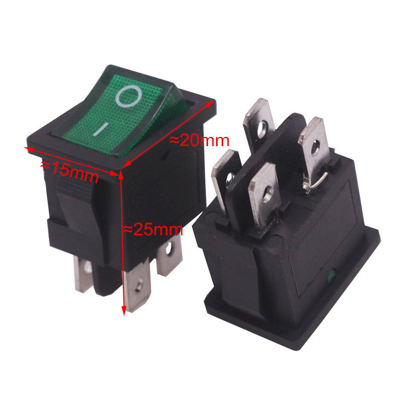 Switch Wholesale 10 Pcs 20*15*25mm On / Off Black Rocker Switch 4 Plugs Switch <font><b>6A</b></font> <font><b>250V</b></font> 10A 125V AC Electrical Accessories image