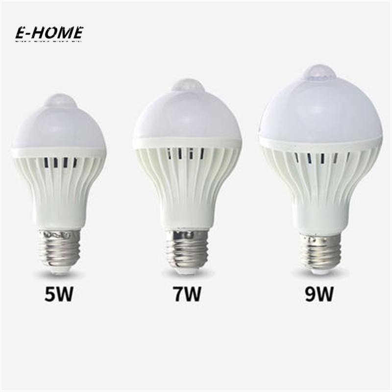 EHOME PIR Motion Sensor Light LED Bulb smart E27 Auto Infrared Body motion sensor Light 220V 5W 7W 9W 110V for Balcony corridor