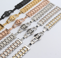 14mm 16mm 17mm 18mm 19mm 20mm 22mm Watchband Bracelets Mens Women Stainless Steel Band Silver Gold