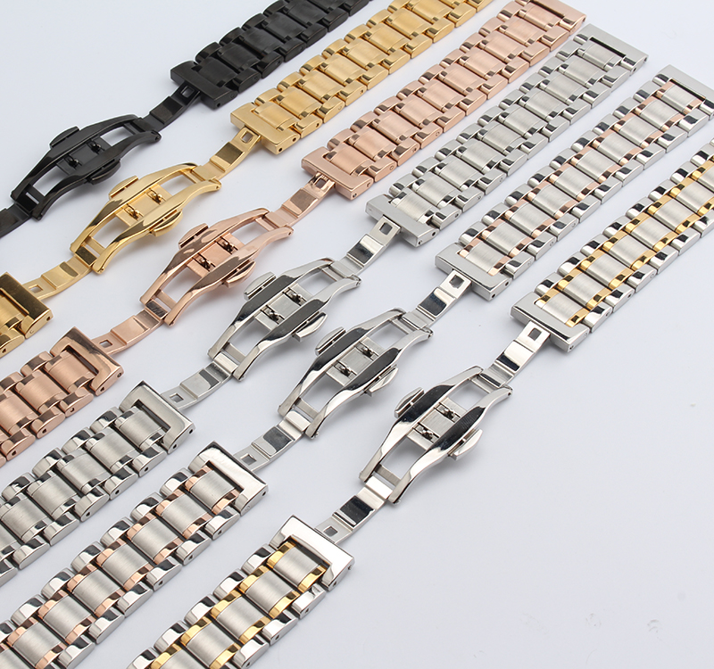 14mm 16mm 17mm 18mm 19mm 20mm 22mm Watchband Mens Women High Quality Stainless Steel Band Silver gold Watch Bracelet Strap 14mm 16mm 17mm 18mm 19mm 20mm 21mm 22mm 23mm 24mm silver black full stainless steel watch strap wacthband for rarone with logo