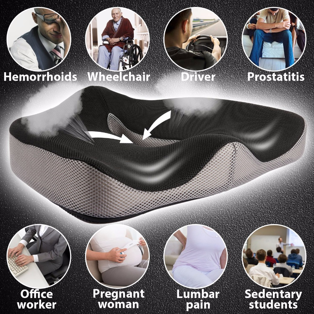 Car-Seat-Cushion Chair Memory-Foam Tailbone Coccyx Orthopedic Hemorrhoids Comfortable