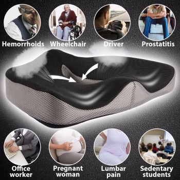 Bulons Memory Foam Seat Cushion for Lower Back