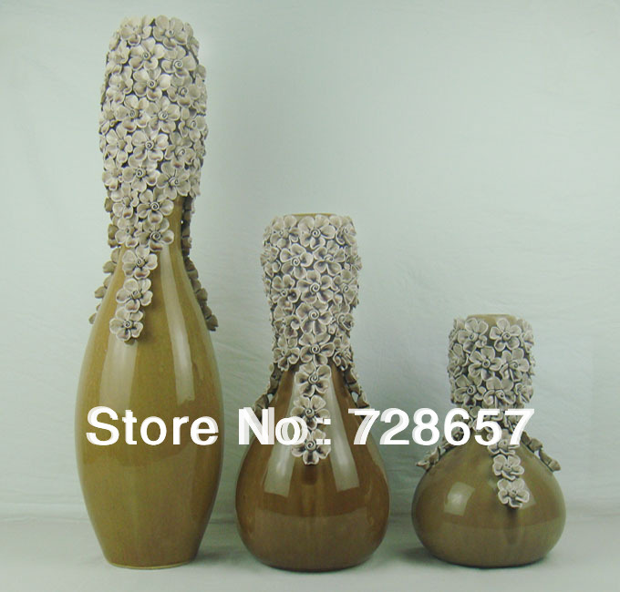 Bone China Exquisite Ceramic and Porcelain Vase. Countertop Porcelain Vase Set for Decoration Furnishing