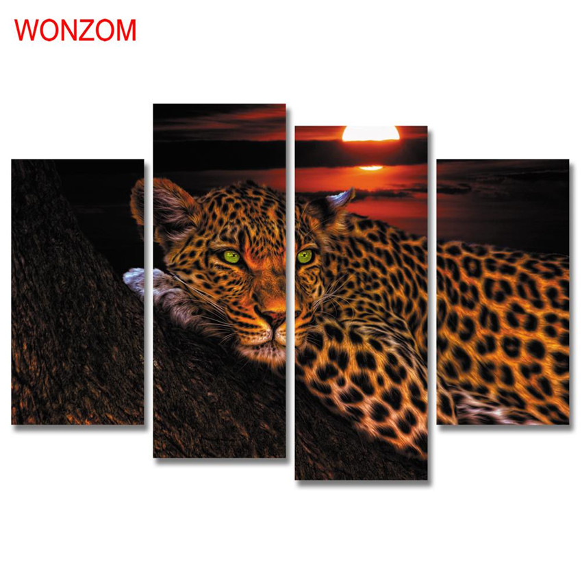 Wonzom 4pcs Leopard Canvas Printings Modern Animal Painting On Canvas Cuadros Abstractos Horse Wall Pictures For Home Decor 2017
