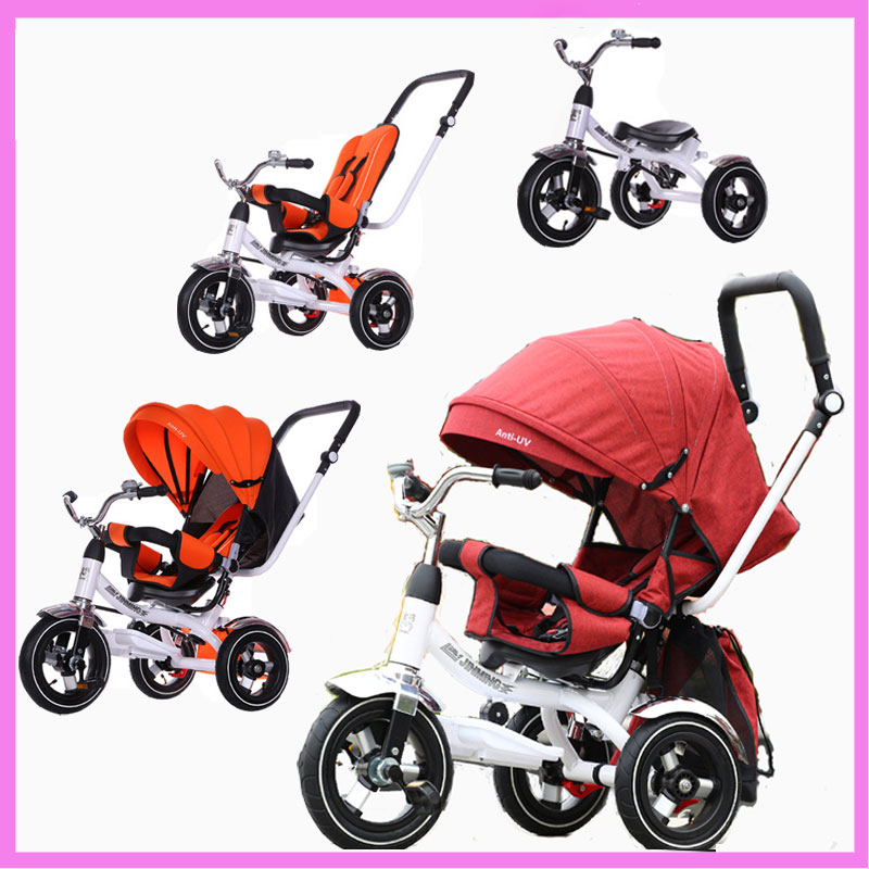 3 In 1 Baby Tricycle Bike Flat Lying Baby Carriage Stroller Trike Bicycle Adjustable Seat Child Umbrella Stroller Pram Pushchair baby stroller pram bb rubber wheel inflatable tires child tricycle infant stroller baby bike 1 6 years old bicycle baby car