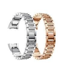 Moda Cristal de Diamante Relógio Faixa de Relógio Cinta para Ajuste bit Carga 2 Três-Talão de Aço Inoxidável Senhoras Pulseira De Substituição bandas