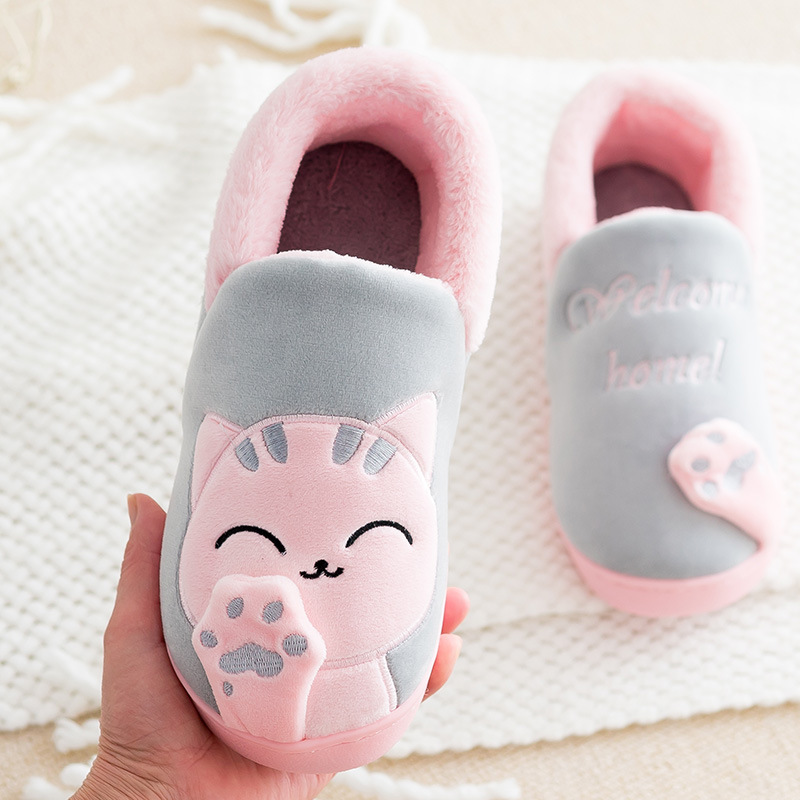 Cute Kids Shoes Warm Cat Cotton Slippers Boy And Girls House Slides Indoor  Animal Soft Mules Dropshipping-in Slippers from Mother   Kids on  Aliexpress.com ... 74314ef2386b