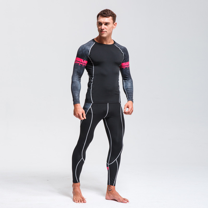 Quick Drying Perspiration Running Set  Men's Compression Sportswear Fitness MMA Rashgard Male Ski Thermal Underwear Sport Suit
