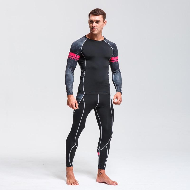 Quick Drying Perspiration Running Set  Men's Compression Sportswear Fitness MMA Rashgard Male Ski Thermal Underwear Sport Suit