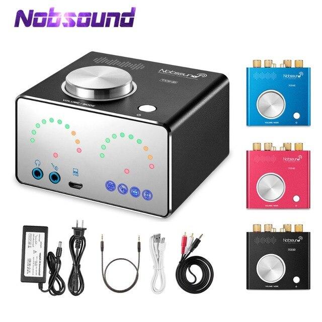 Nobsound HiFi Bluetooth 4.2 cyfrowe wzmacniacze Audio w domu Mini pulpit zasilania zintegrowany wzmacniacz stereofoniczny wzmacniacz słuchawkowy karta dźwiękowa USB