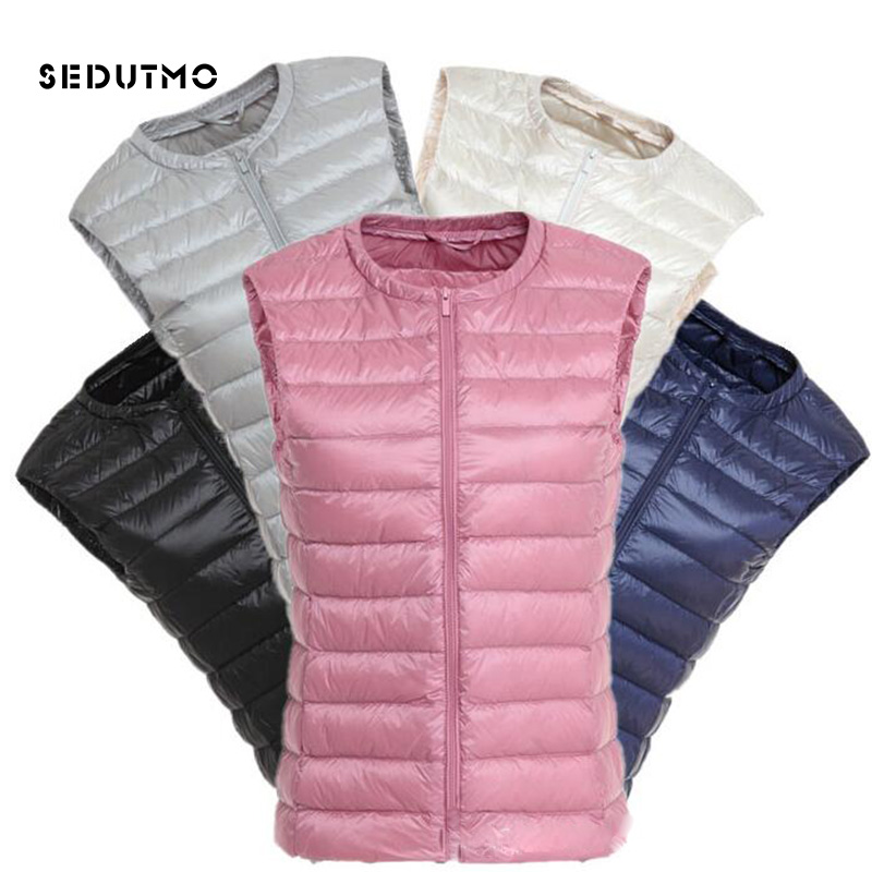 SEDUTMO 2018 Spring Ultra Light Duck Womens   Down   Jackets Plus Size 3XL Vest Winter   Down     Coat   Short Puffer Jacket Waistcoat ED126