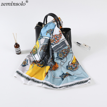 Luxury Brand 100% Twill Silk Scarf Square Scarves For Women New Design Printed Women Neck Bandana Shawl Wraps Echarpe 130*130cm
