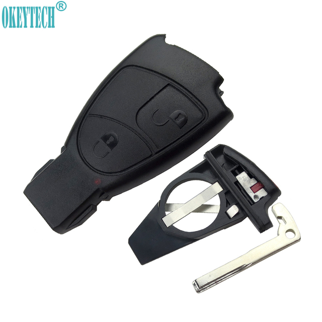 US $8 92 29% OFF|OkeyTech 2 Button Replacement Car Smart Remote Key Fob  Shell Case With Battery Holder Key Blade For MERCEDES for BENZ C E B S  CL-in