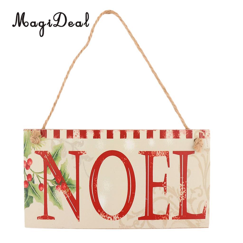 MagiDeal Рождеством Ноэль письма деревянная доска Праздник дома Висит Вывеска