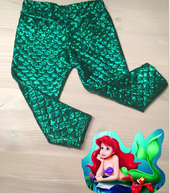 29197739d0279 Mermaid Leggings capris Toddler Fish Scale Print Green Mermaid baby  leggings mermaid scale girly baby clothes with headband