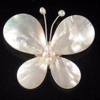 Wholesale Handwork Pearl Jewellery,Wedding Birthday Party Women Gift Brooch,White Shell Pearl Butterfly Pin Brooch