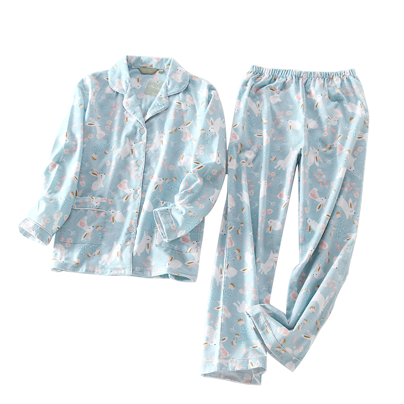 Women\'S Sleepwear Spring Long Sleeves Cotton Pajamas Set Women Cardigan Pyjamas Rabbit