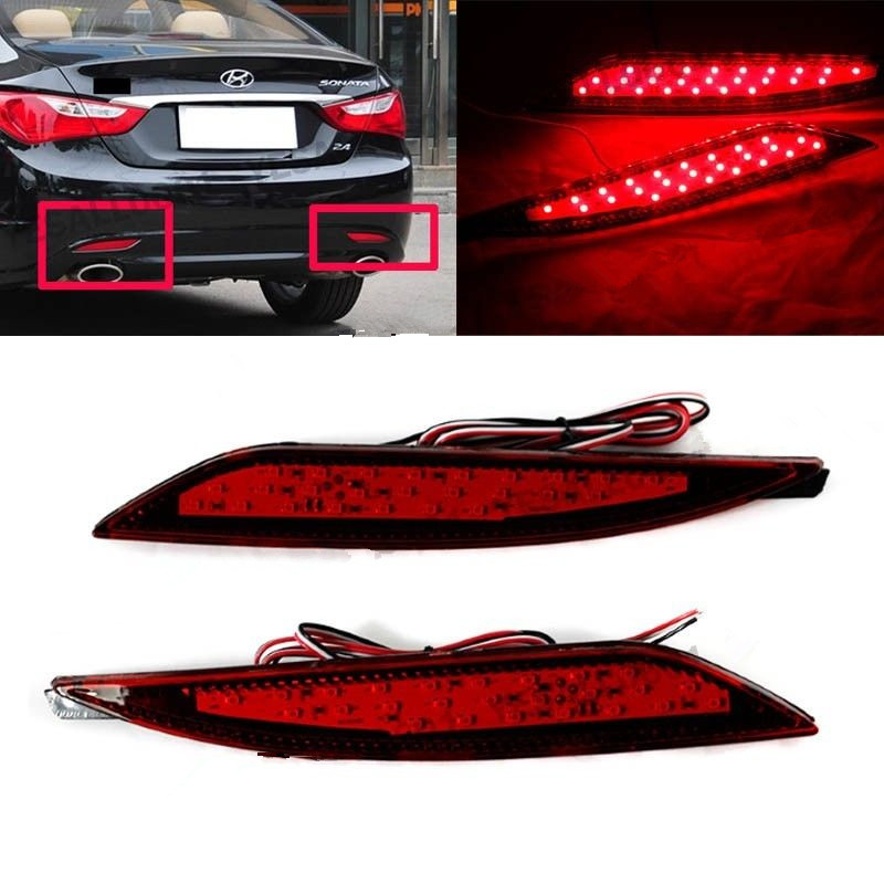 2x LED Lens Rear Bumper Reflector Brake Light For Hyundai Sonata 8th 2011 12 13 2014