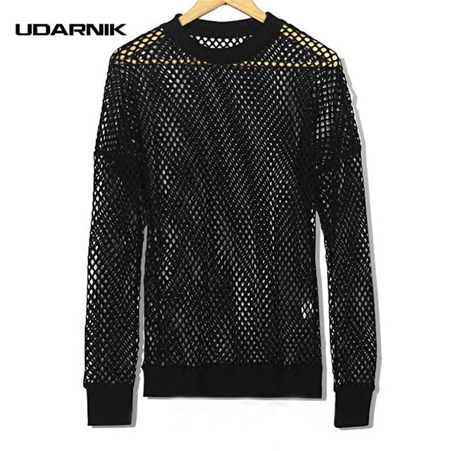 af9f602f Men Fishnet Mesh T-shirt Hollow Out Transparent Long Sleeve O-Neck Fashion  Hip-hop Black Casual Tops Streetwear New 904-751