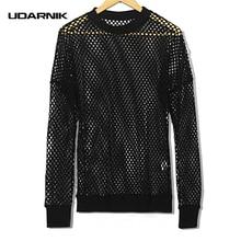Men Fishnet Mesh T-shirt Hollow Out Transparent Long Sleeve O-Neck Fashion Hip-hop Black Casual Tops Streetwear New 904-751
