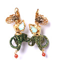New Enamel Fish Ocean Goddess Clip Earings With Crystal Earrings Without Piercing Fashion Fine Jewelry Valentine's Day Gift