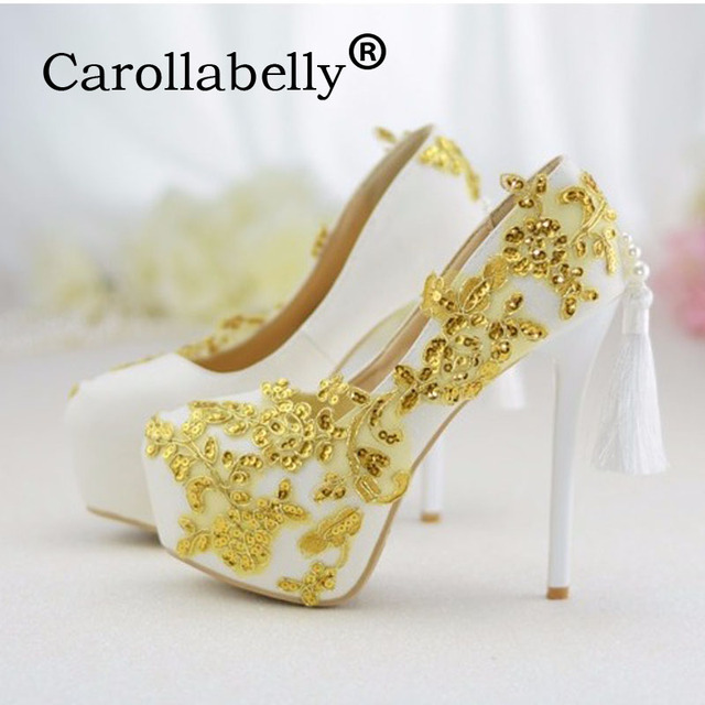 Carollabelly White Lace Women High Heels Shoes Round Head Paltform Bridal Diamond Gold Bling Wedding