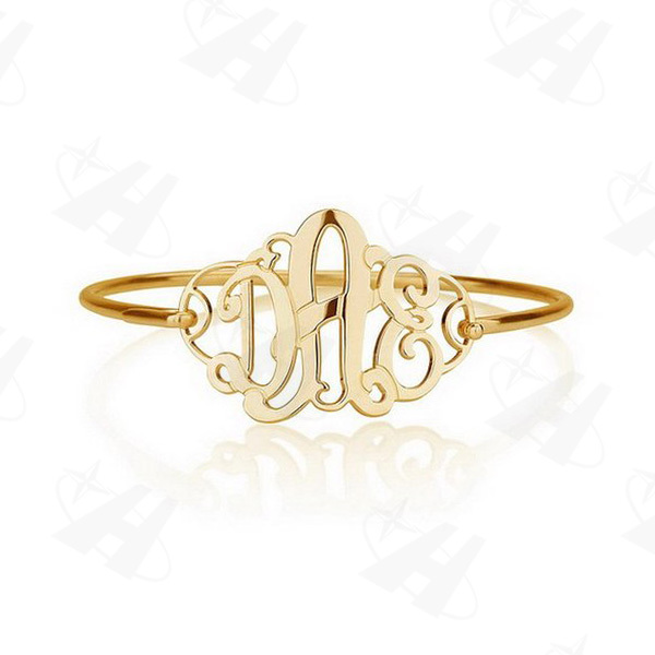 Gold Monogram Bracelet Personalized Initial Letter Name Bangles Fashion Gold Bangle Pulseiras Custom Made Jewelry