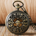 Cool Steam Poker Unique Design Bronze Pocket Watch Mechanical Automatic Fob Watch Vintage Antique Clock Relogio De Bolso