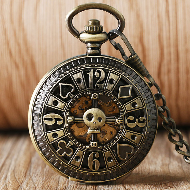 Cool Steam Poker Unique Design Bronze Pocket Watch Mechanical Automatic Fob Watc