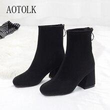 Ankle Boots Women Winter Shoes Black Hoof Heels  Women Shoes Zip Round Toe Female Boots Casual Shoes 2019 New Fashion DE стоимость