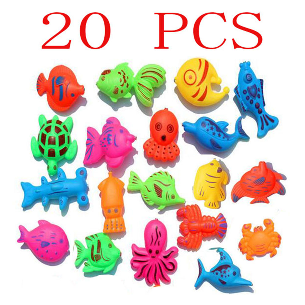 Wholesale 20pcs/set Magnetic fish Toy Kid Fishing Game girl boy Baby Bath Toys Outdoor Funny Toy Set Style colors sent randomly