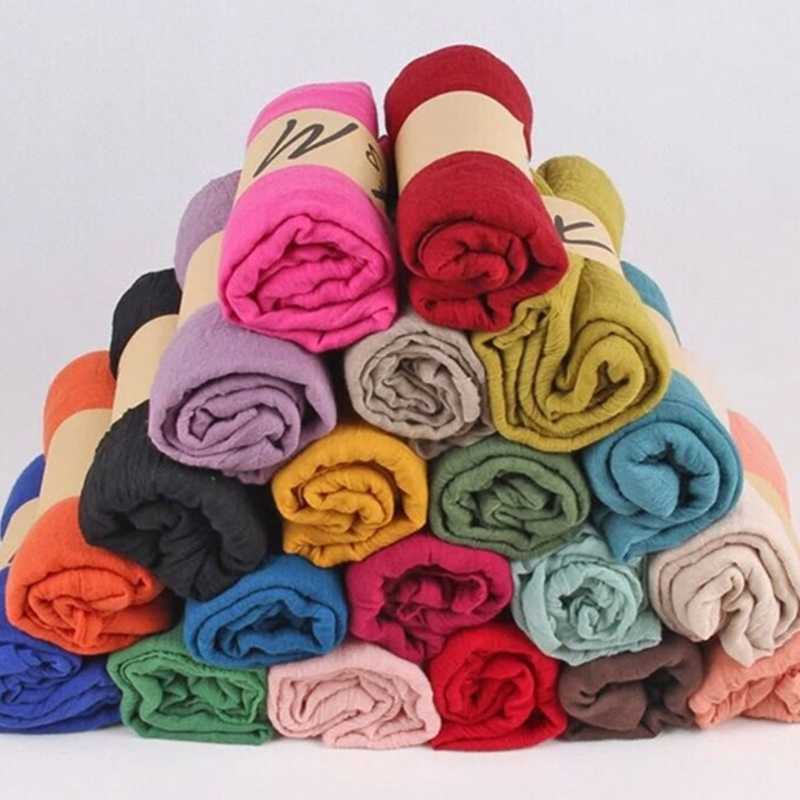 2020 패션 새로운 16 색 여성 롱 스카프 랩 스카프 빈티지 코튼 린넨 대형 목도리 Hijab 우아한 솔리드 블랙 레드 Whi