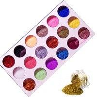 Fashion 18 Colors Mix UV Gel Nail Art Glitter Dust Powder For UV GEL Acrylic Powder