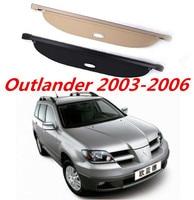 JIOYNG Car Rear Trunk Security Shield Shade Cargo Cover For Mitsubishi Outlander 2003 2004 2005 2006 (Black beige)