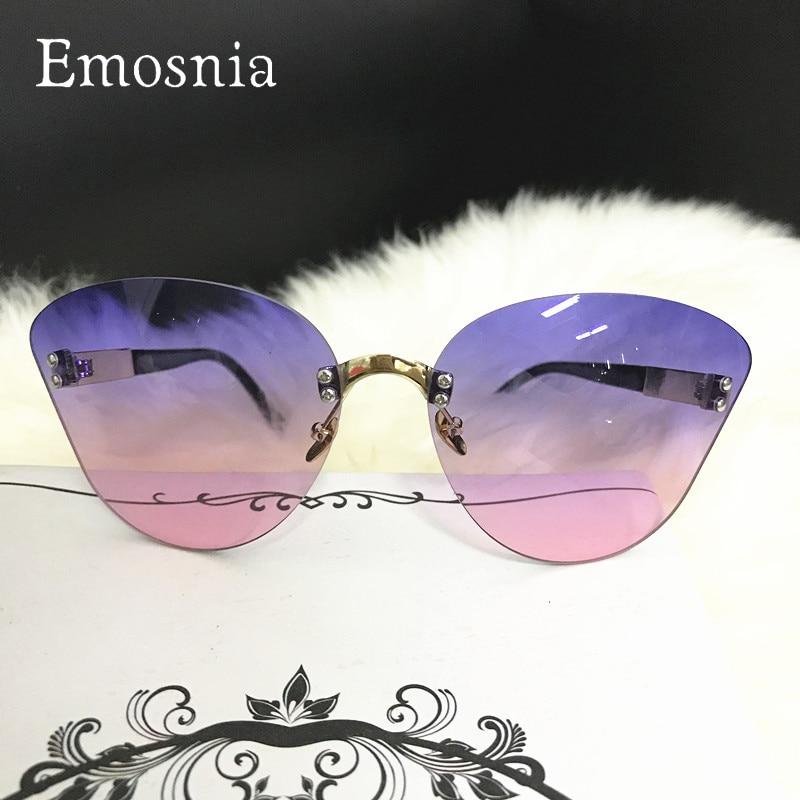 Emosnia 2018 Rimless Cateye Sunglasses Women  New Fashion Oversized Ocean Lens Brand Design Sun Glasses Ladies Gradient Oculos