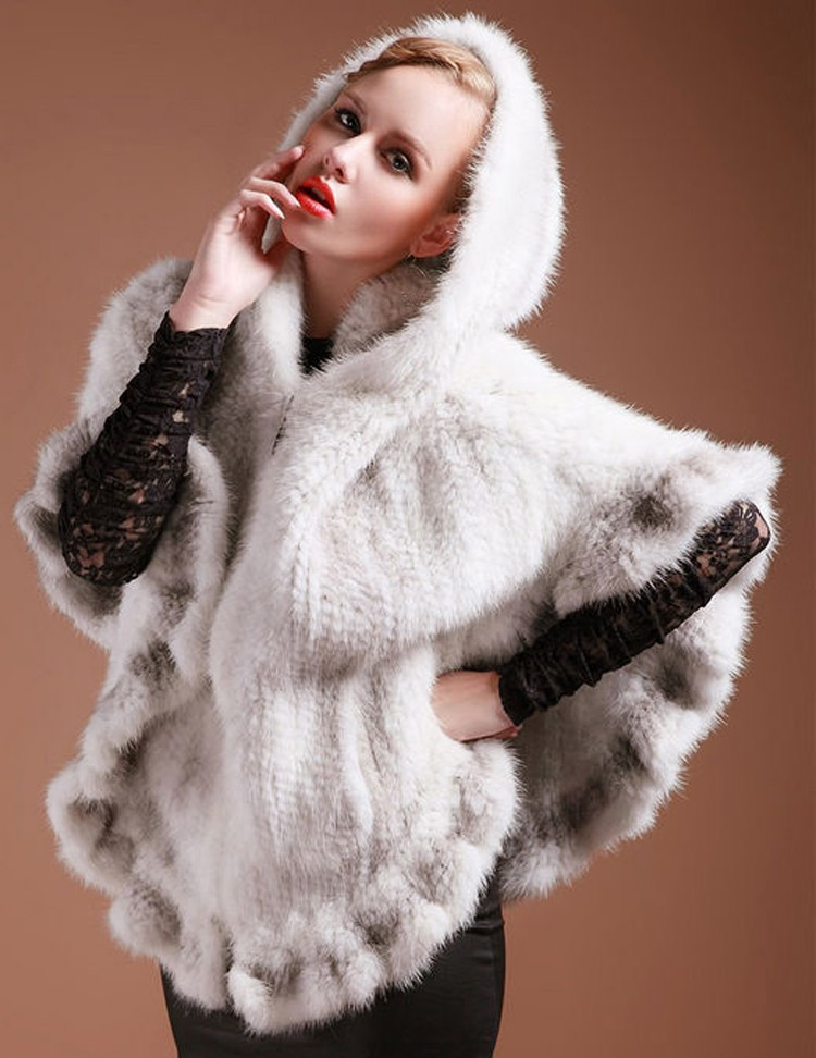 Factory Direct Genuine Mink Fur Shawl Women Natural Mink Fur Poncho With Hood Winter Knitted Mink Fur Jacket DL6191 (6)