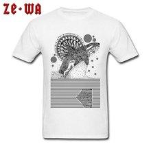Cotton Shirt Adult T-shirt Plus Size Men T Shirts Geometric Whale Printed Clothing Black White Tops Art Casual Tees Teen Tshirt
