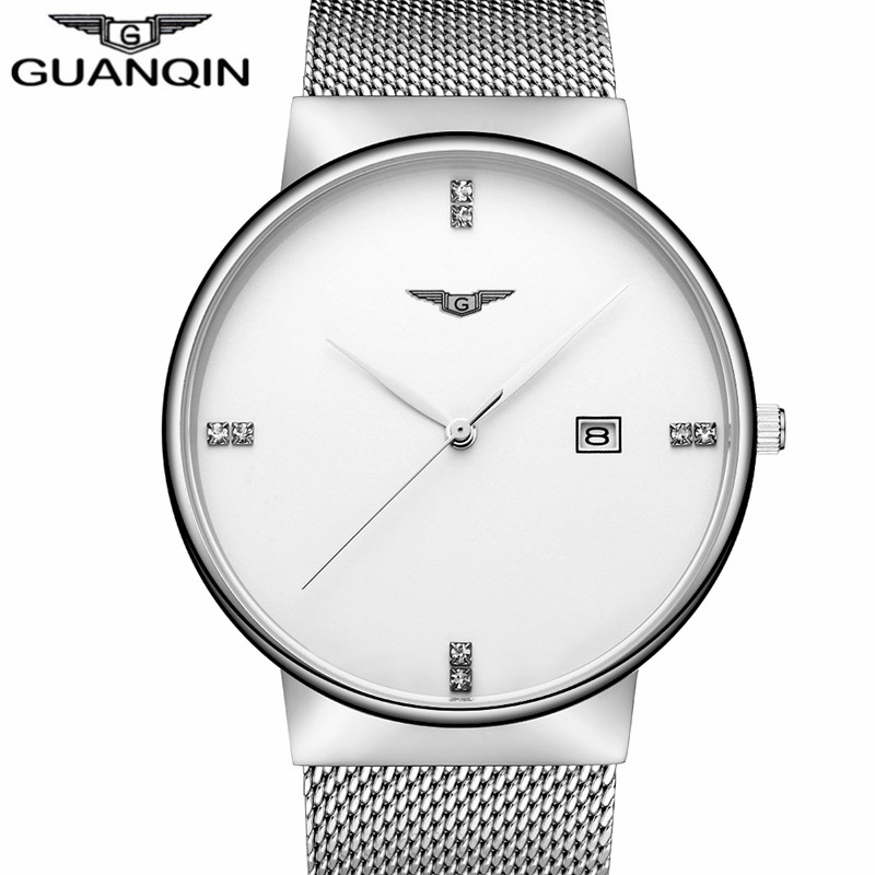 2017 Luxury Brand GUANQIN Sports Watches For Men Stainless Steel Mesh Band Wristwatch Simple Clock Male Waterproof Quartz Watch skone fashion simple watches for women lady quartz wristwatch stainless steel band watch for woman relogio femininos