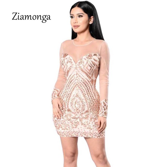 d781e47418 Ziamonga Women Long Sleeve Sequined Bandage Dress Sexy Cocktail Party  Dresses Summer 2019 Clothes Office Bodycon Robe Vestidos-in Dresses from  Women's ...