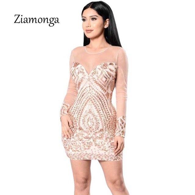 Ziamonga frauen langarm pailletten bandage dress sexy cocktail party ...