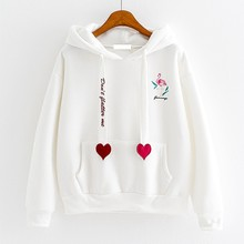 2018 Autumn Winter Hoodies And Sweatshirts Women Flamingo Embroidery Sweatshirt Female Casual Fashion Hearts Sudaderas Mujer