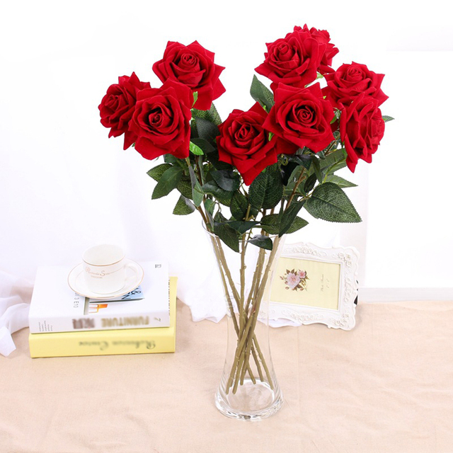 10 Stks Partij Levensechte Kunstmatige Rose Bloem Fluwelen Rode Rose